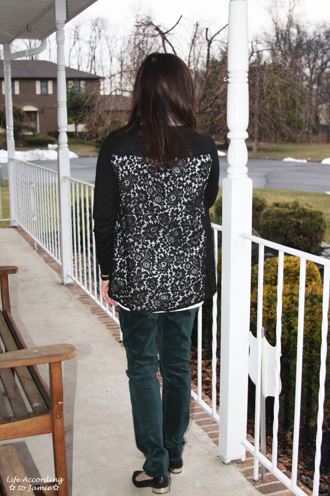 Collared Lace Back Sweater