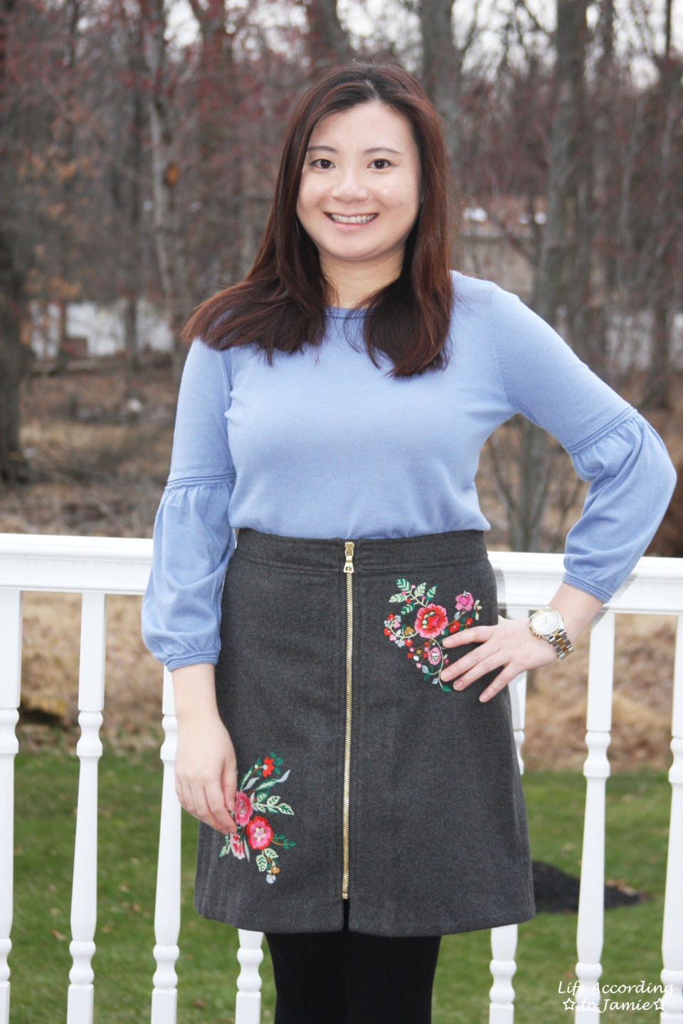 Floral Embroidered Zip Skirt 13