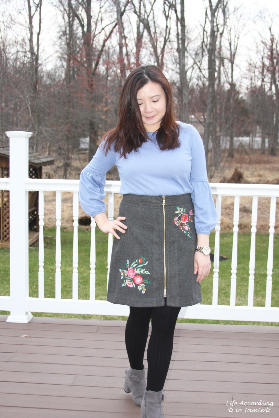 Floral Embroidered Zip Skirt 9