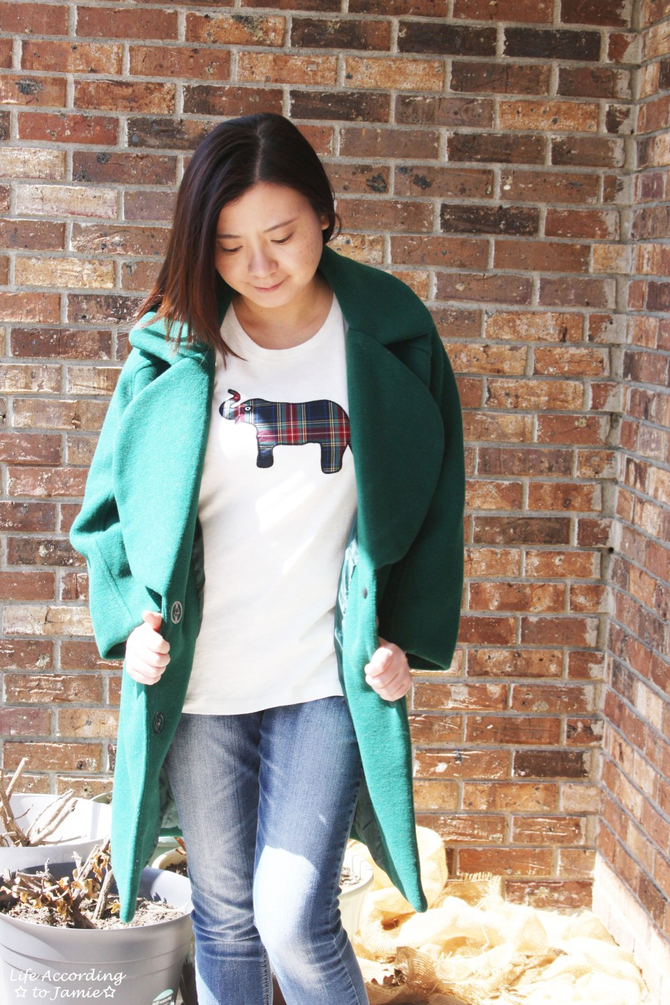 Green Lapel Coat + Plaid Elephant Tee 10