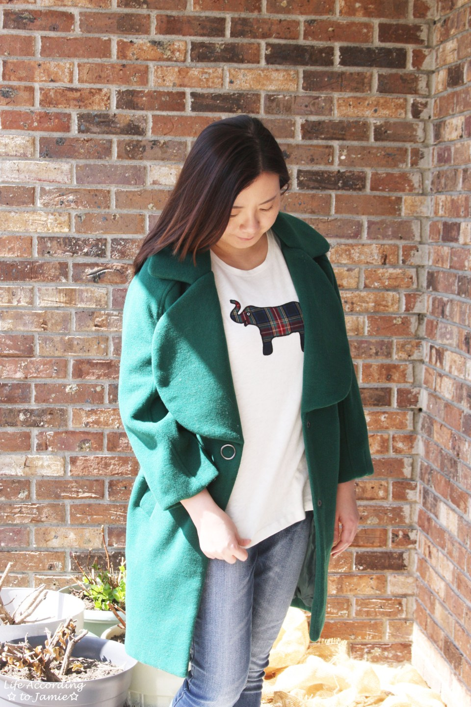 Green Lapel Coat + Plaid Elephant Tee 11