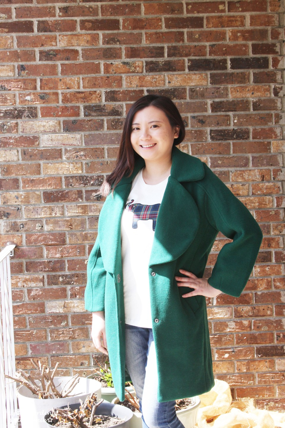 Green Lapel Coat + Plaid Elephant Tee 12