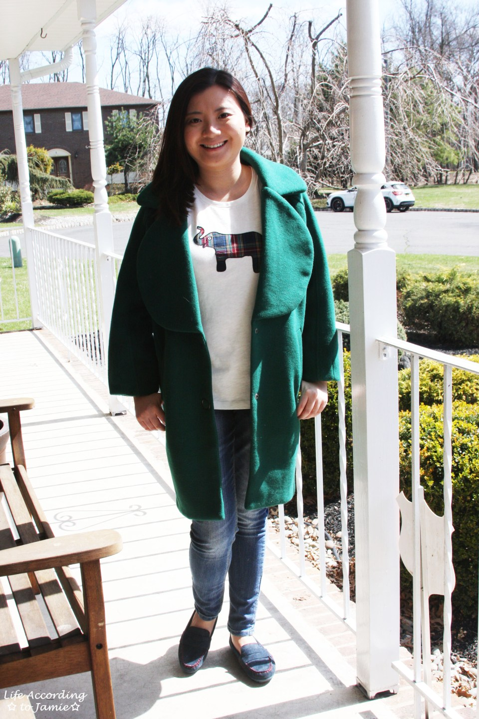 Green Lapel Coat + Plaid Elephant Tee 6