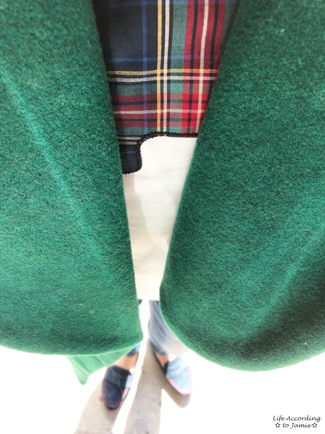 Green Lapel Coat + Plaid Elephant Tee