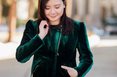Green Velvet Moto Jacket