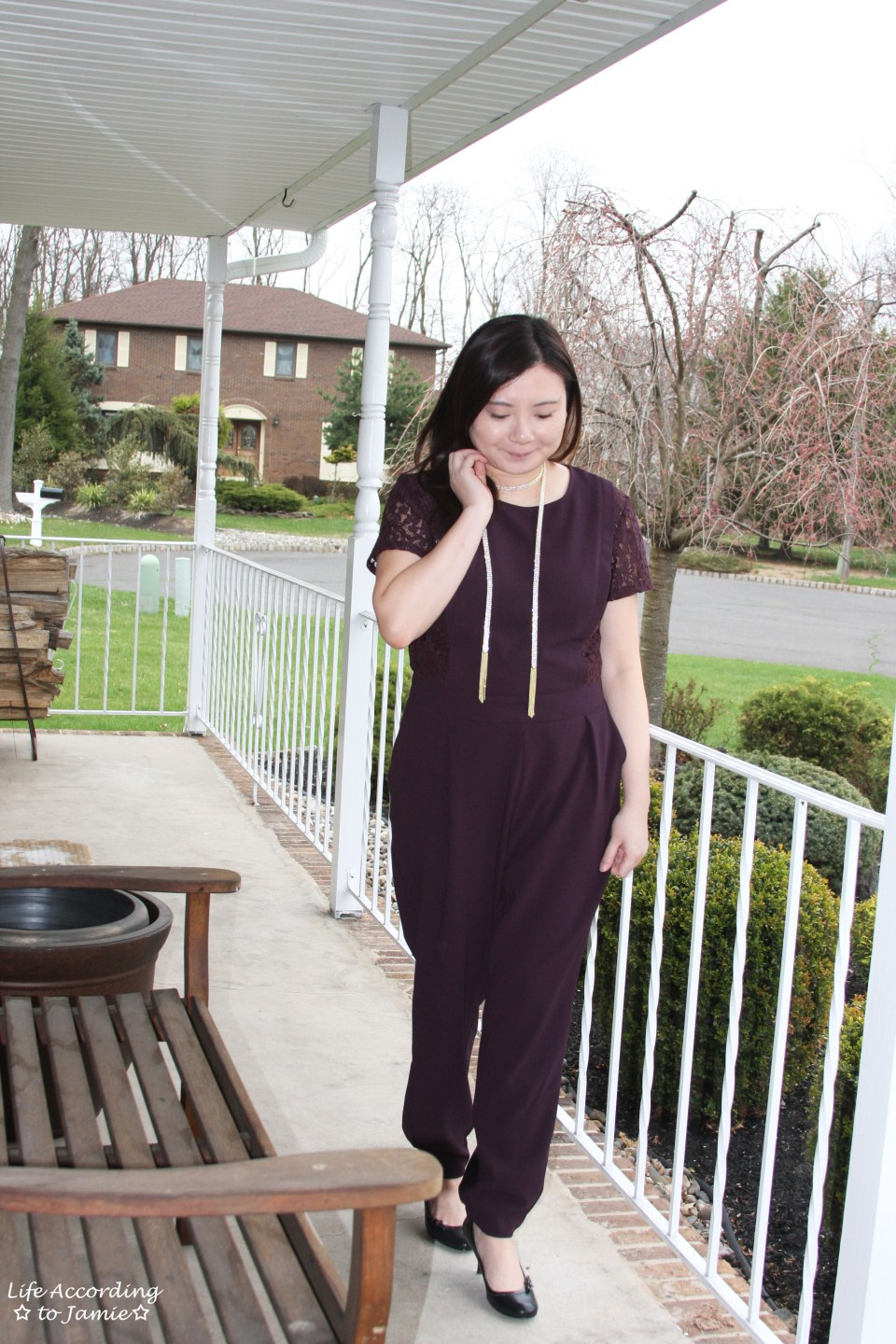 Lace Panel Jumpsuit + Arlo Lariat 11
