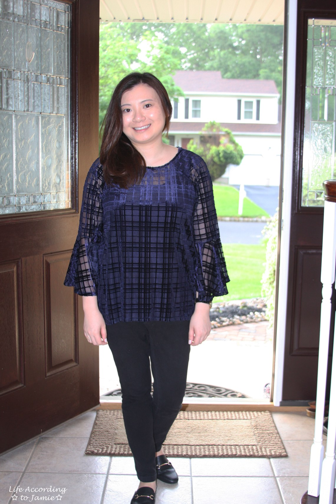 Blue Velvet Plaid Blouse