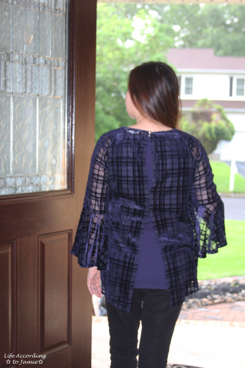 Blue Velvet Plaid Blouse 7