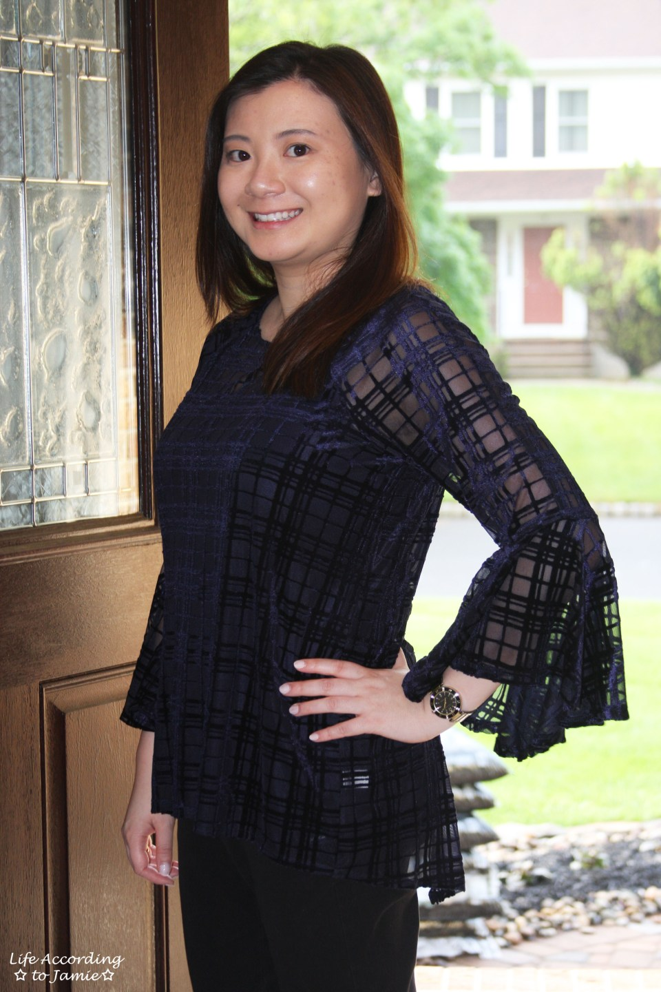 Blue Velvet Plaid Blouse 9