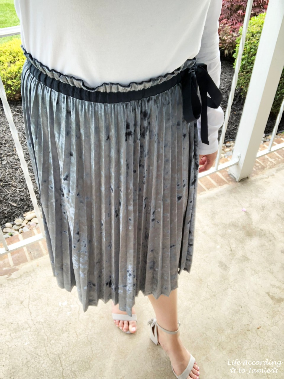 Blue Velvet Pleated Midi Skirt 2