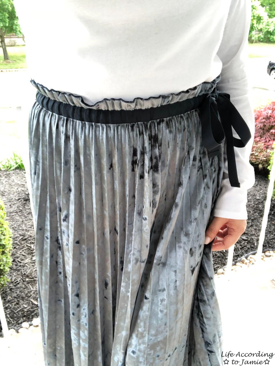 Blue Velvet Pleated Midi Skirt