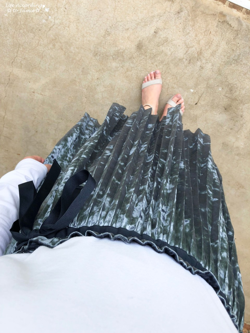 Blue Velvet Pleated Midi Skirt 4