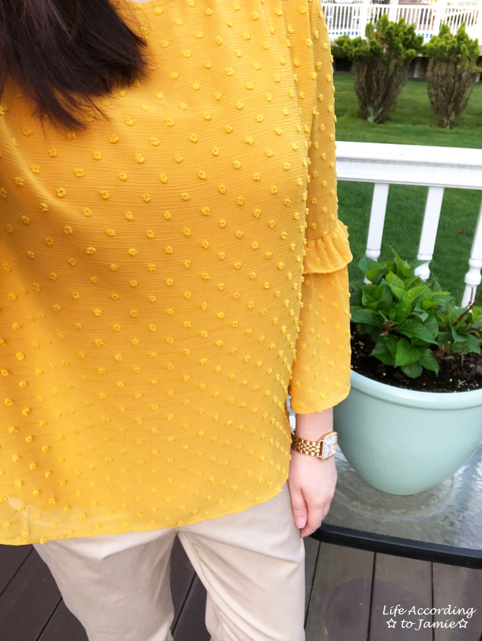 French Knot Mustard Blouse 1