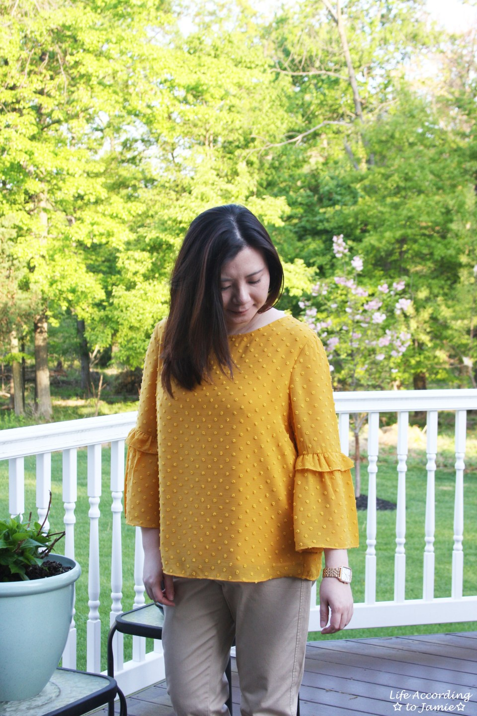 French Knot Mustard Blouse 13