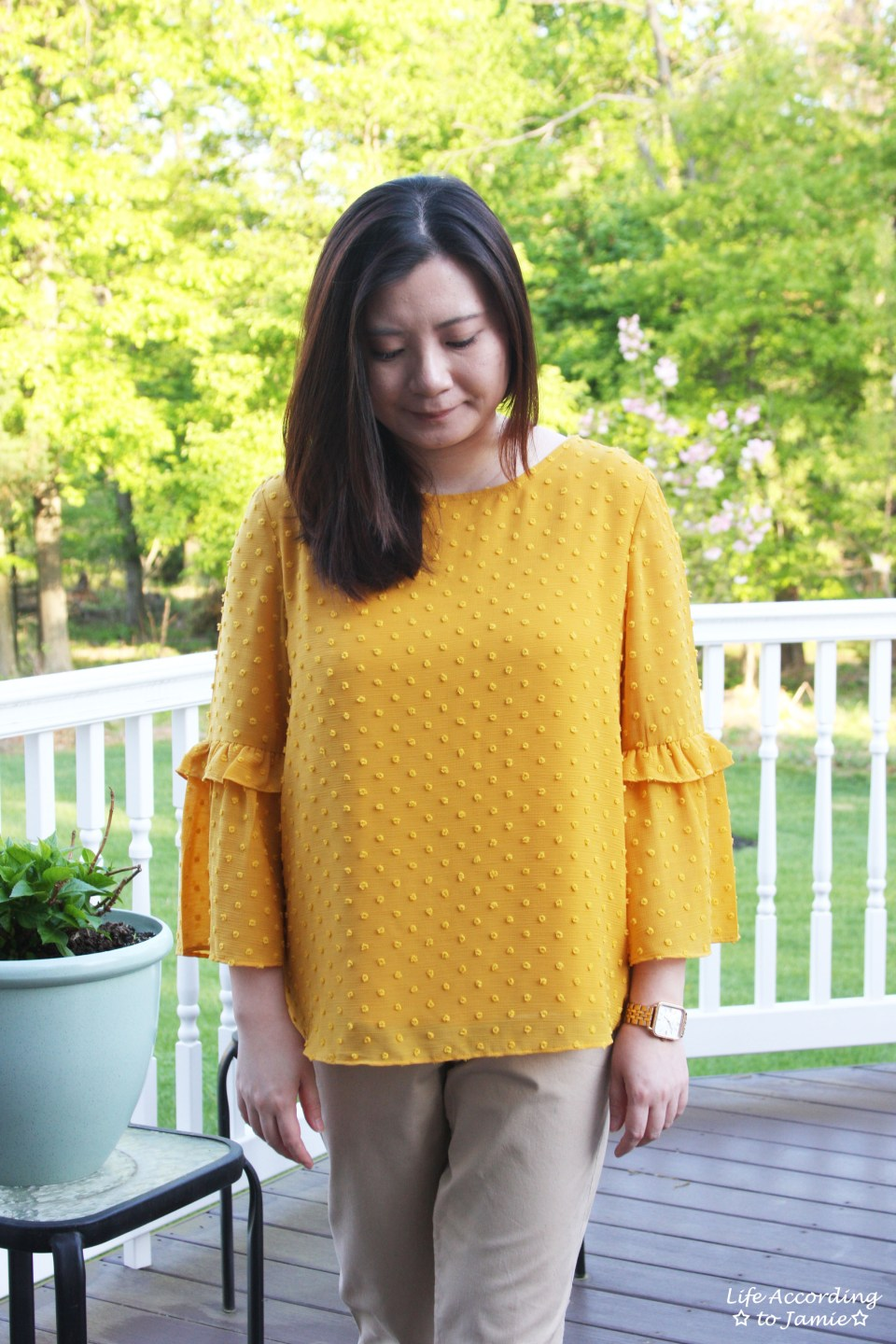 French Knot Mustard Blouse 7
