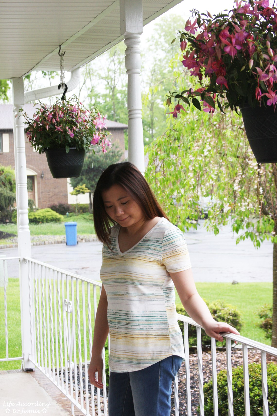 Green & Yellow Striped Tee