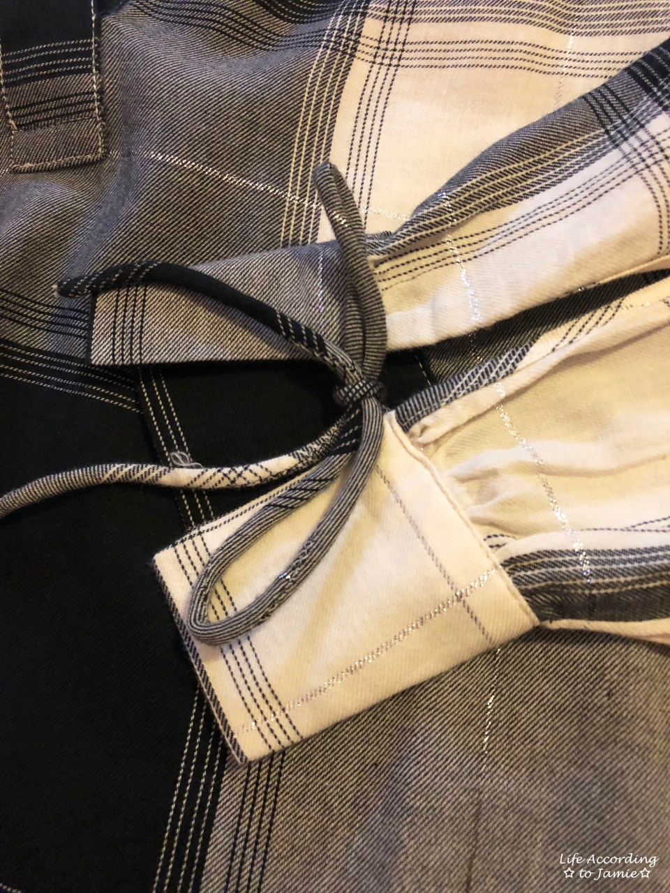 Grey Plaid Split Neck 1