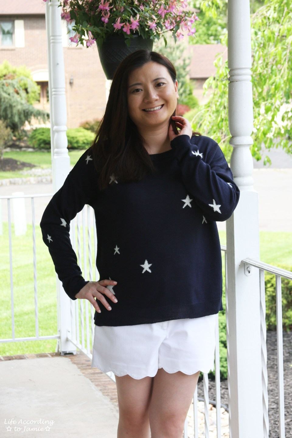 Star Sweater + White Scalloped Shorts 9