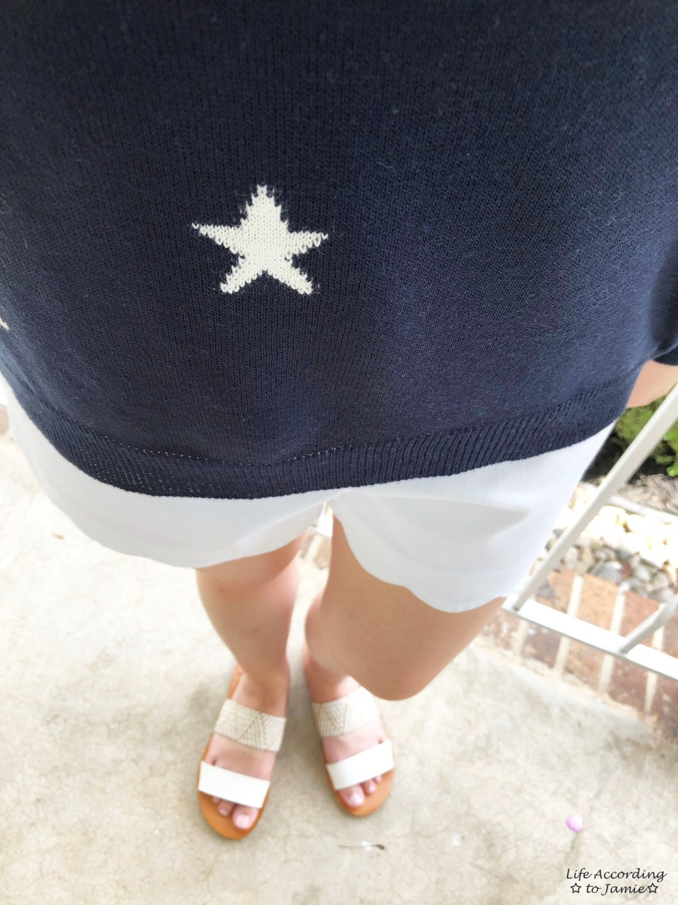 Star Sweater + White Scalloped Shorts