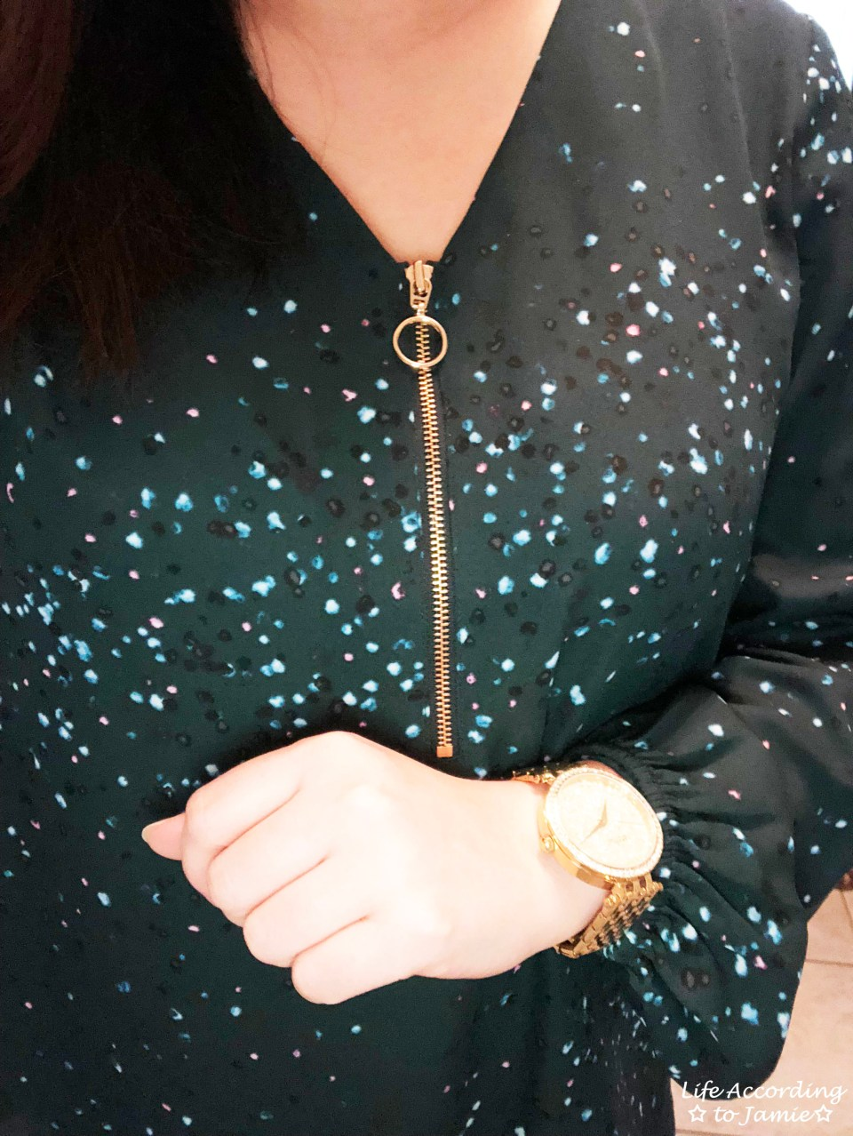 Teal Dot Front Zip Blouse 1