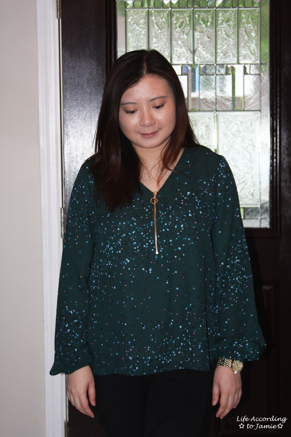 Teal Dot Front Zip Blouse 4