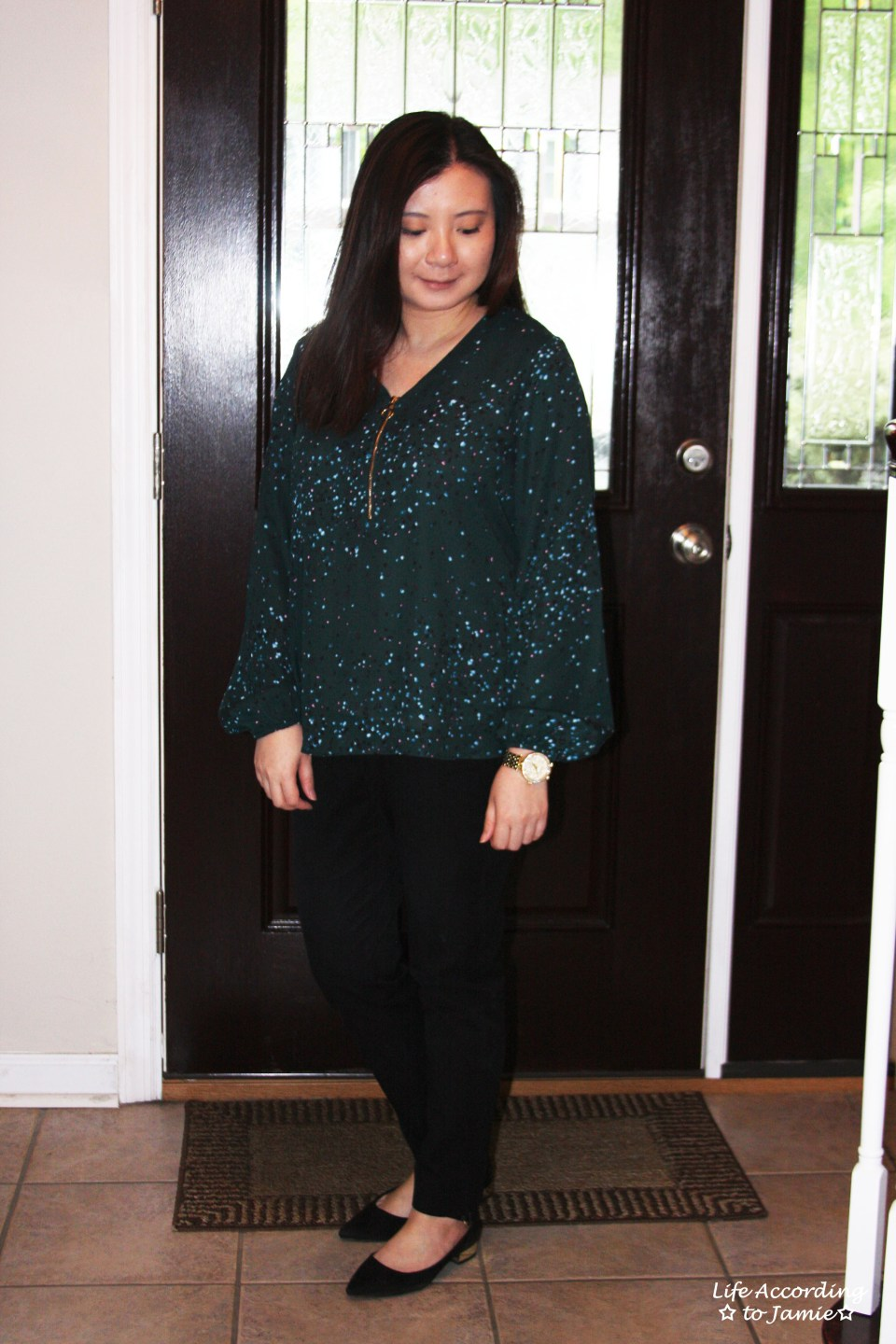 Teal Dot Front Zip Blouse 5