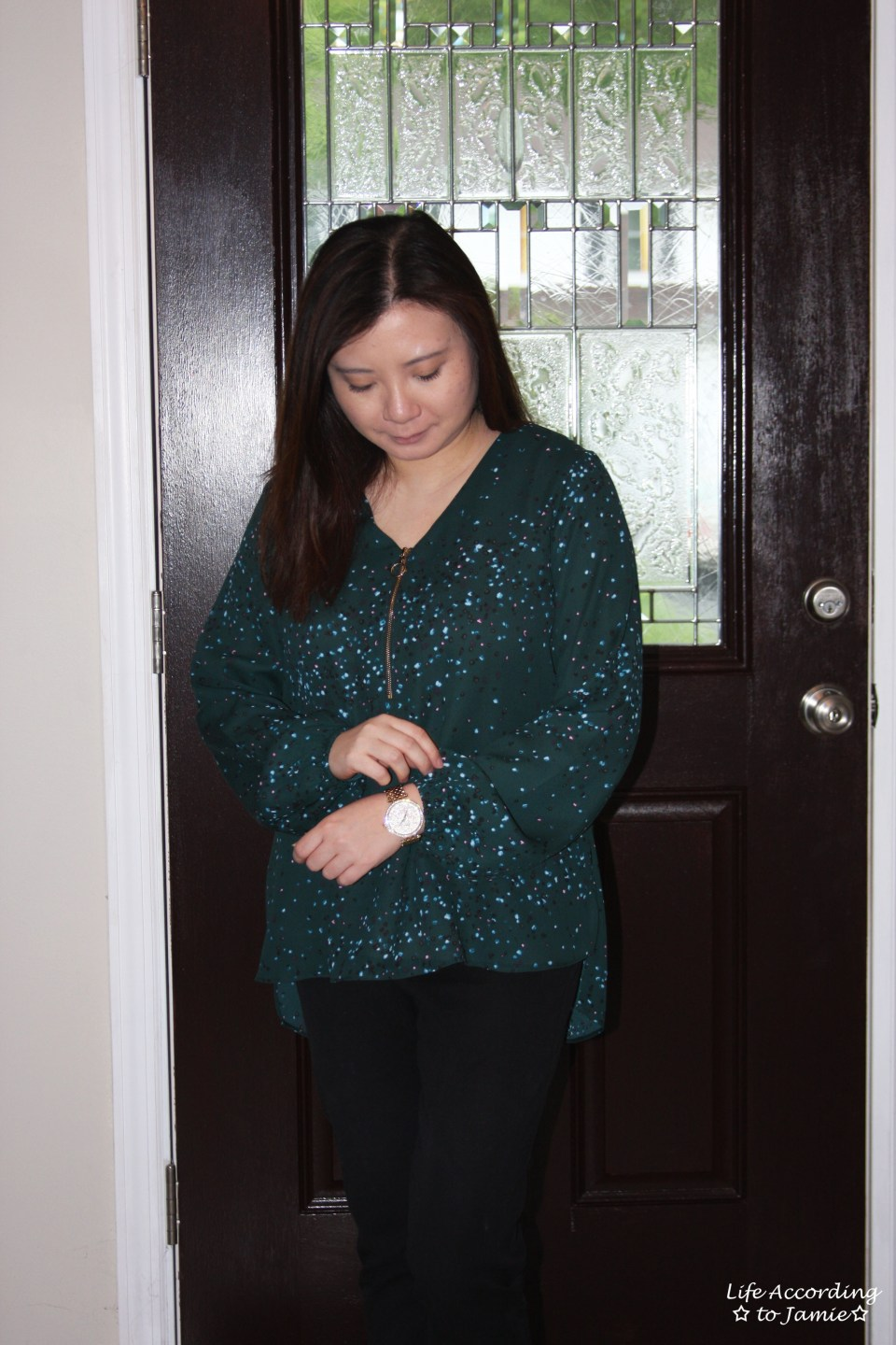 Teal Dot Front Zip Blouse 8
