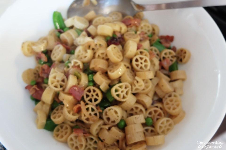 Wagon Wheel Pasta + Peas & Bacon
