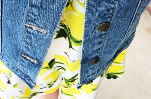 Lemon Print Dress + Denim Jacket