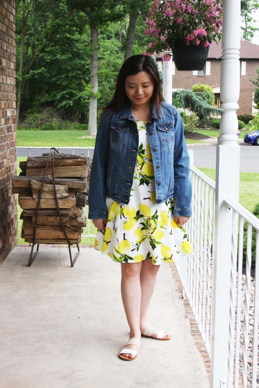 Lemon Print Dress + Denim Jacket 2
