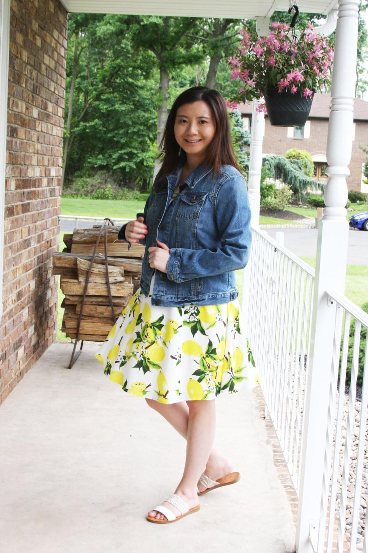 Lemon Print Dress + Denim Jacket 5