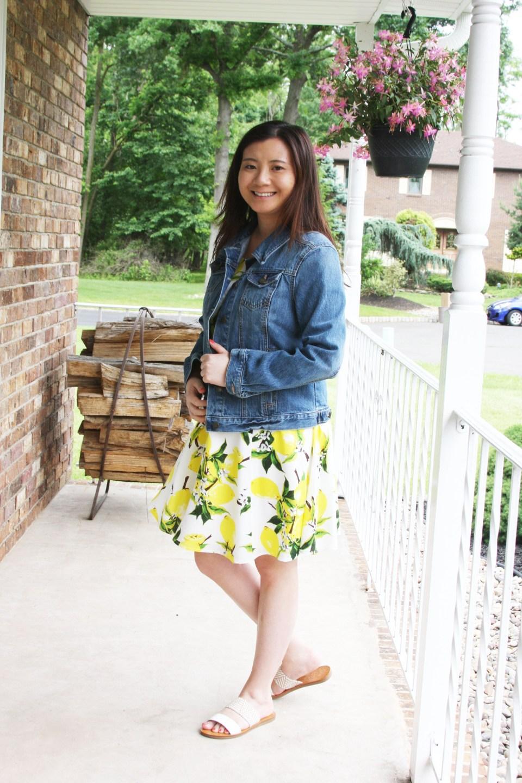 Lemon Print Dress + Denim Jacket 6