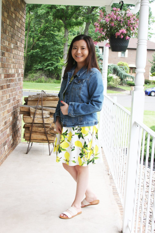 Lemon Print Dress + Denim Jacket 7