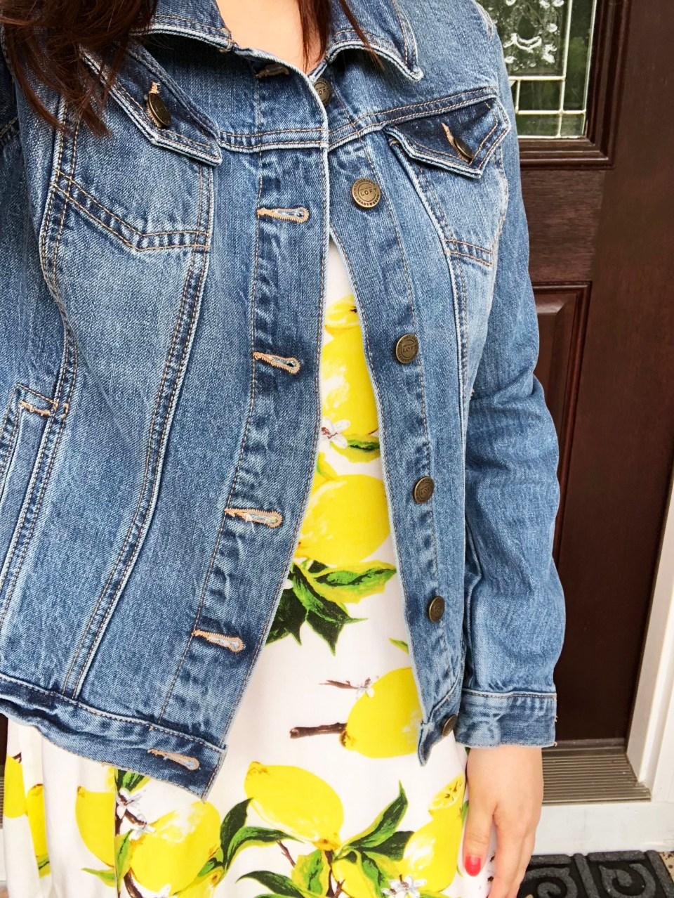 Lemon Print Dress + Denim Jacket 8