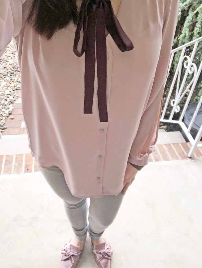 Pink + Maroon Necktie Blouse 10