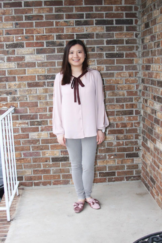 Pink + Maroon Necktie Blouse 8