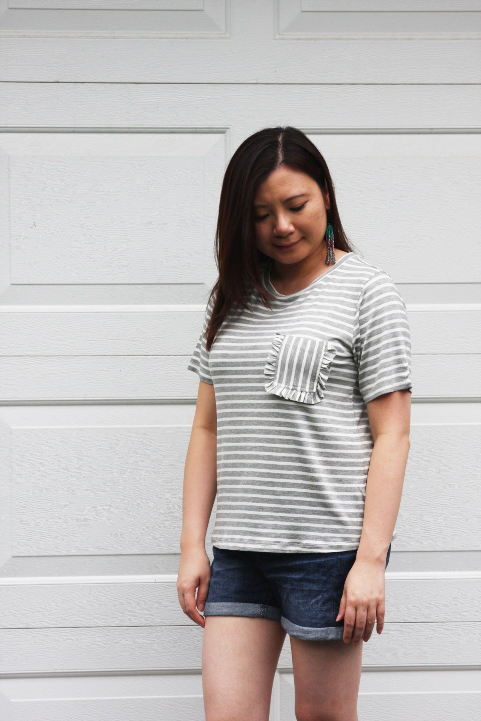 Striped Ruffle Pocket Tee 1