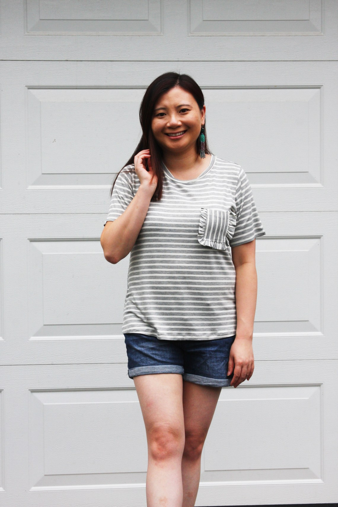 Striped Ruffle Pocket Tee