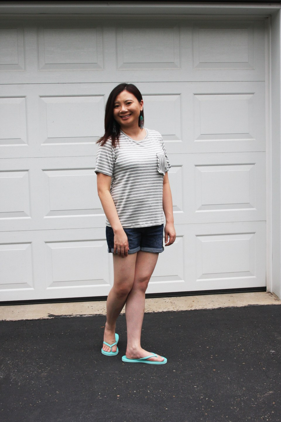 Striped Ruffle Pocket Tee 4