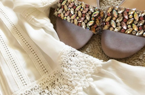 Woven Detail Top + Jeweled Slides