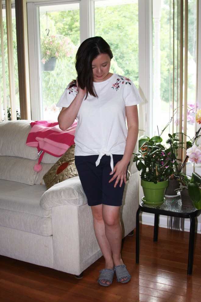 Embroidered Tie Front Tee 1