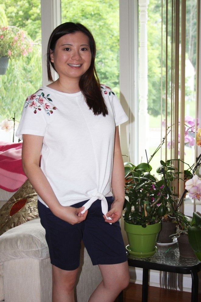 Embroidered Tie Front Tee 4