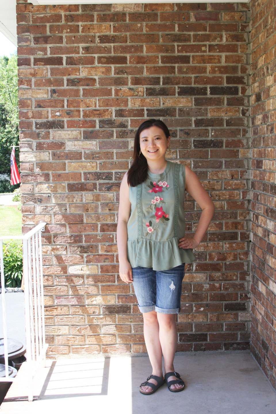 Floral Embroidered Olive Peplum 1