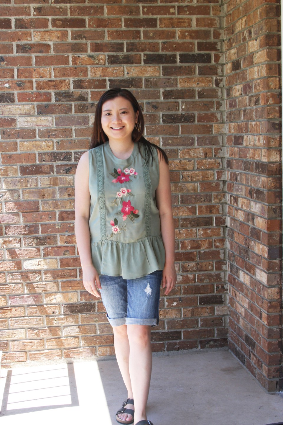 Floral Embroidered Olive Peplum 6
