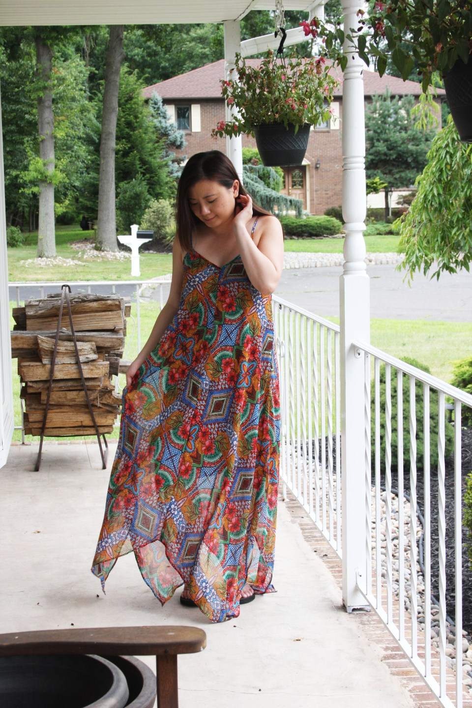 Handkerchief Hem Maxi Dress