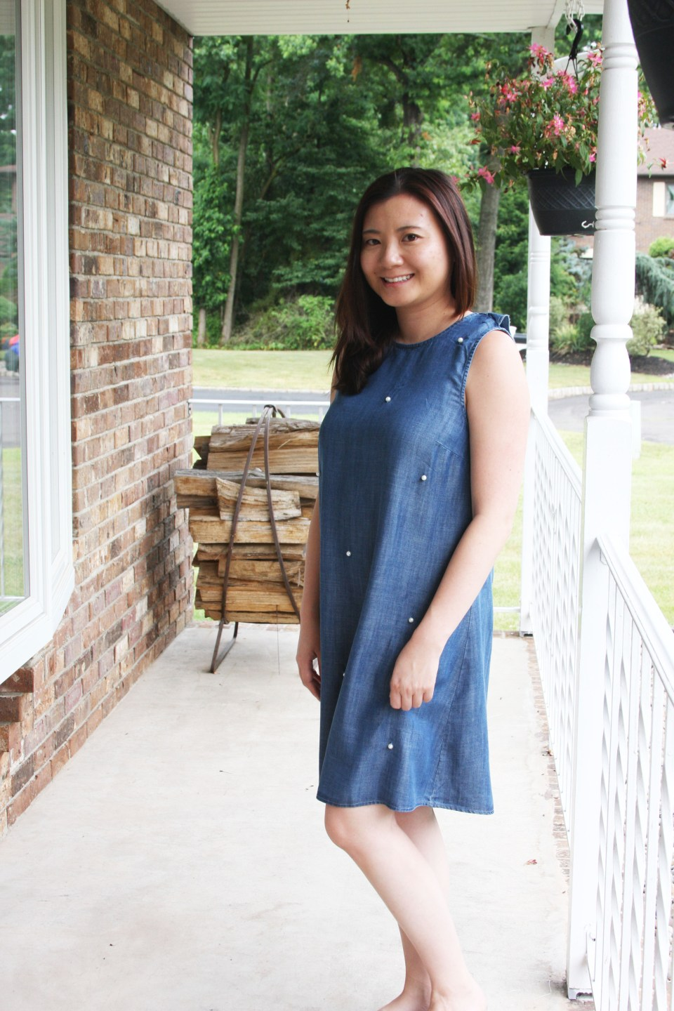 Pearl Embellished Chambray Dress 10