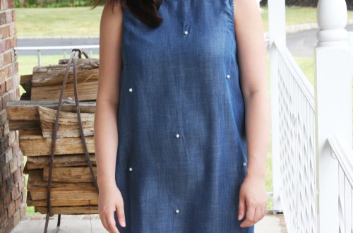 Pearl Embellished Chambray Dress