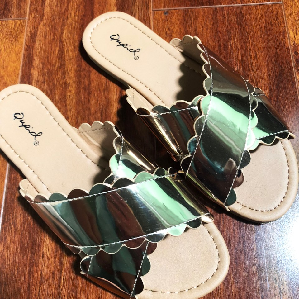 Rose Gold Scalloped Sandals