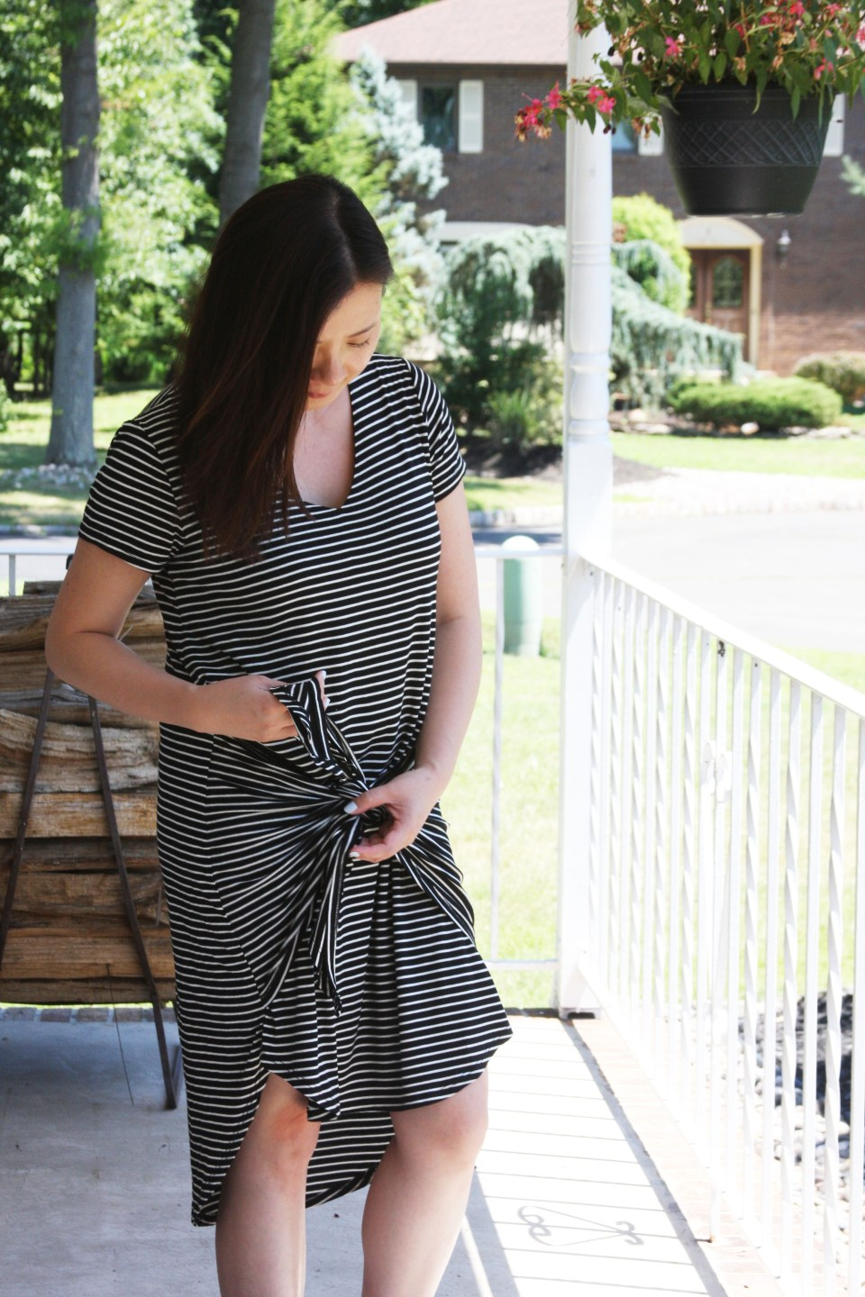 Striped Front Tie High-Low Dress 4