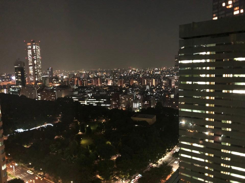Hilton Tokyo room view - night
